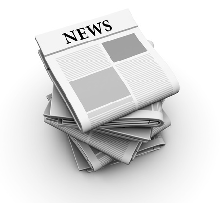 job advertisement: 3d illustration of newspapers stack over white background