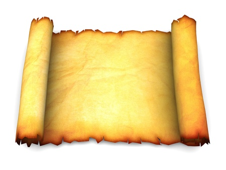 rolled scroll: 3d illustration of an ancient paper scroll over white background