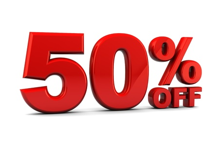 half price: abstract 3d illustration of fifty percent discount sign over white background
