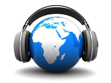 abstract 3d illustration of earth listening music Stock Illustration - 8534564