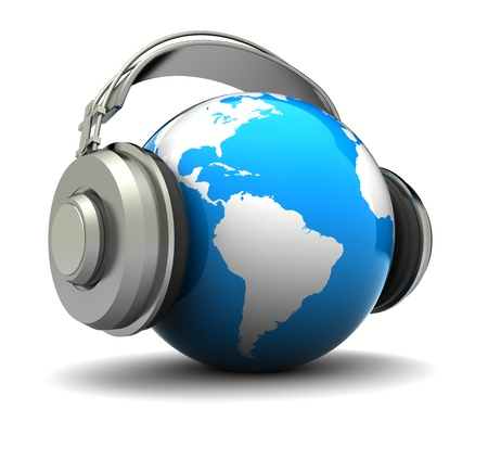 3d illustration of earth globe with headphones, world music concept illustration