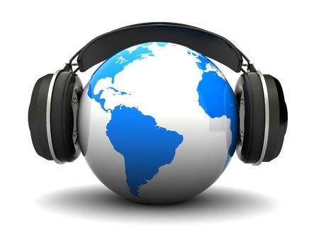 equipo de sonido: Ilustración 3d abstracto del planeta tierra con auriculares, sobre fondo blanco