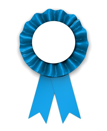 award winning: 3d illustration of blue ribbon award over white background Stock Photo