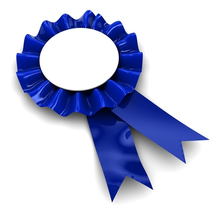 perfection: 3d illustration of blue ribbon award over white background Stock Photo