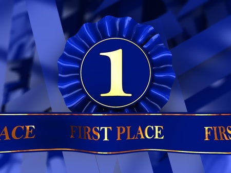 abstract 3d illustration of blue ribbons first place award Stock Illustration - 8534632