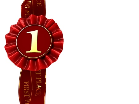 abstract 3d illustration of first place award ribbon with copy space Stock Illustration - 8534537