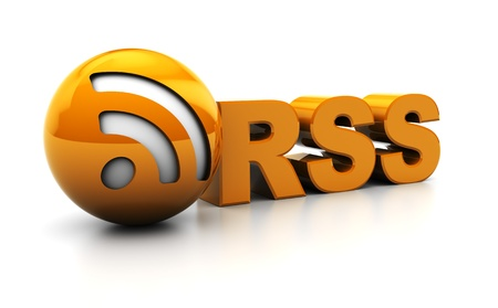 aggregator: abstract 3d illustration of rss sign or icon over white background