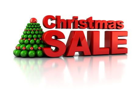 big sale: abstract 3d illustration of Chrsitmas tree and sale sign, over white background
