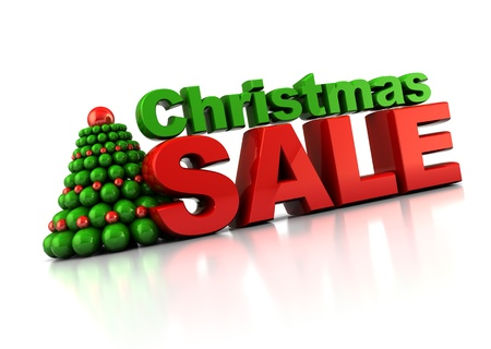 huge christmas tree: abstract 3d illustration of Christmas sale sign, over white background
