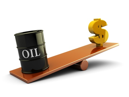 3d illustration of oil barrel and money sign on scale board illustration