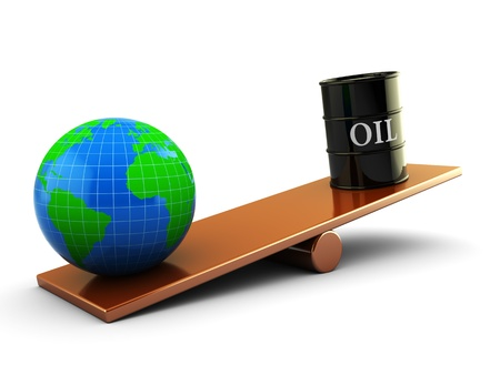 abstract 3d illustration of earth and oil barrell on scale board illustration