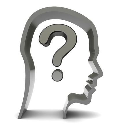 head silhouette: abstract 3d illustration of head silhouette with question mark inside Stock Photo