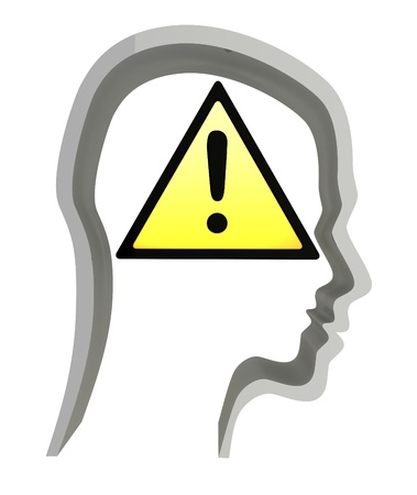 abstract 3d illustration of head silhouette with warning symbol inside illustration