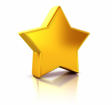 3d illustration of yellow metallic star over white background Stock Illustration - 8534446