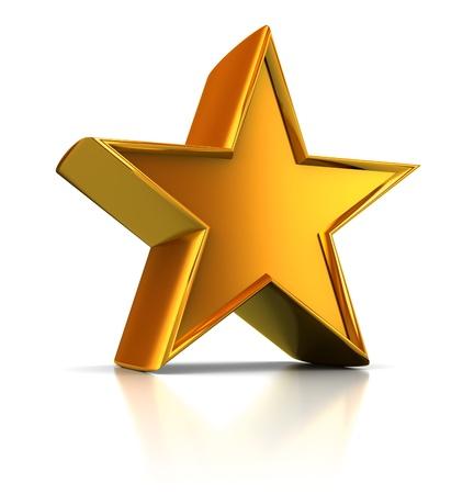 3d illustration of single golden star shape over white background Stock Illustration - 8534482