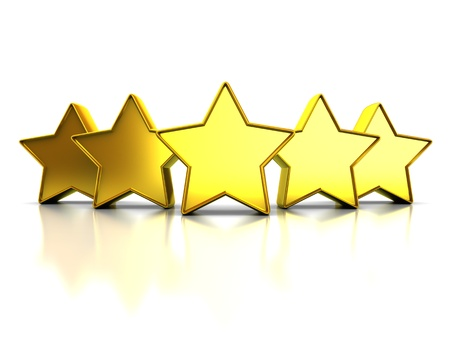 five stars: 3d illustration of golden stars rating symbol, over white background
