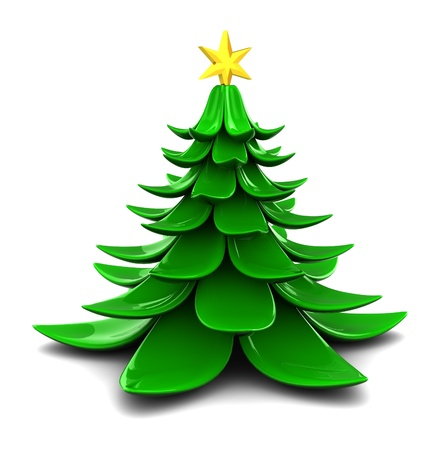abstract 3d illustration of stylized christmas tree over white background Stock Photo