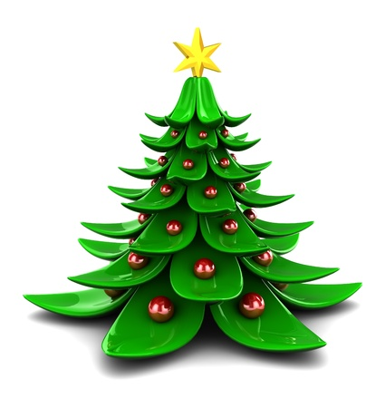 3d illustration of stylized christmas tree, over white background illustration