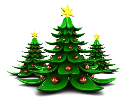 plastic christmas tree: 3d illustration of three Christmas trees over white background
