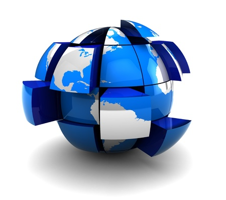 incomplete: abstract 3d illustration of earth globe built drom blocks Stock Photo