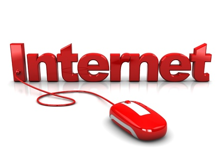 3d illustration of computer mouse connected to text 'internet' Stock Illustration - 8897871