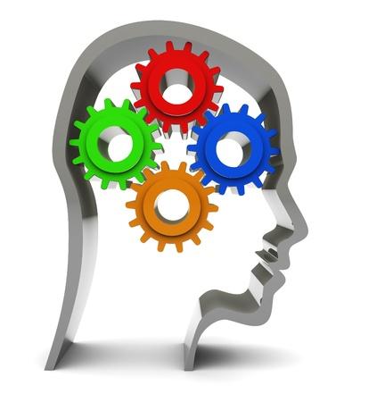 thinking machine: Ilustraci�n 3d abstracto del contorno de cabeza humana con ruedas dentadas dentro de
