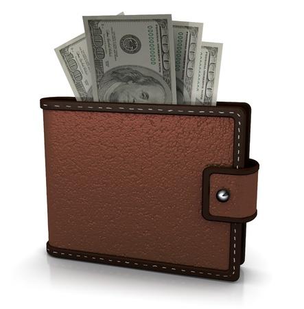 3D illustratie van de portefeuille vol geld, op witte achtergrond