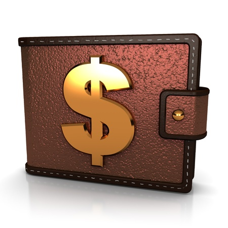 matallic: abstract 3d illustration of brown leather wallet with dollar symbol Stock Photo
