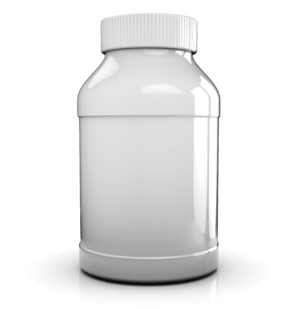 pills bottle: 3d illustration of clear and blacnk medical bottle over white background
