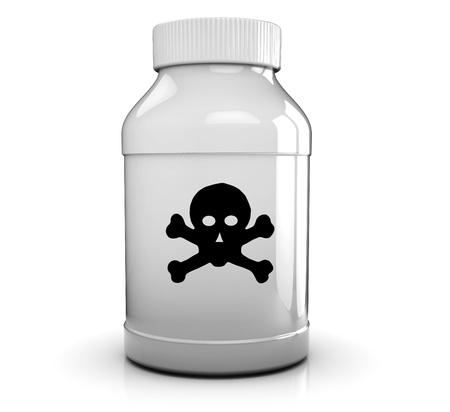 3D illustratie van vergif fles op witte achtergrond Stockfoto