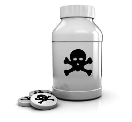 toxic: 3d illustration of white bottle with poison symbol, and tablets