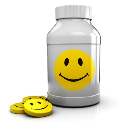antidepressant: abstract 3d illustration of medical bottle and tablets with smiley symbol