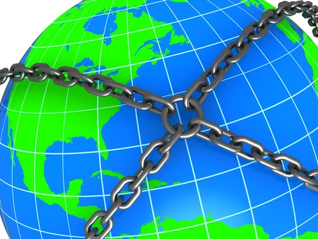 abstract 3d illustration of earth locked with chains Stock Illustration - 9187205