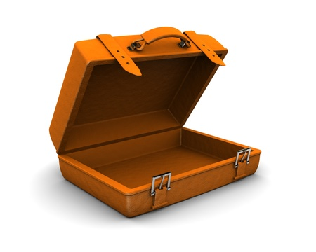 3d illustration of orange travel case over white background Stock Illustration - 9187159