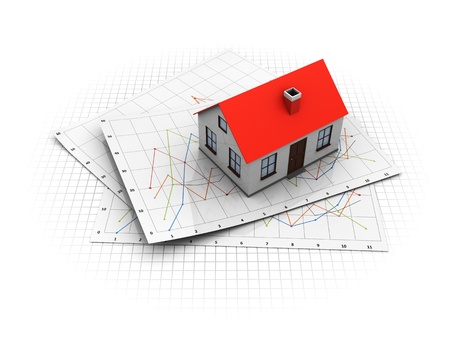analyzing: 3d illustration of real estate market analyzing concept Stock Photo