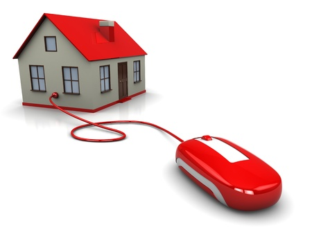 3d illustration of house controlled by computer mouse Stock Illustration - 9187141