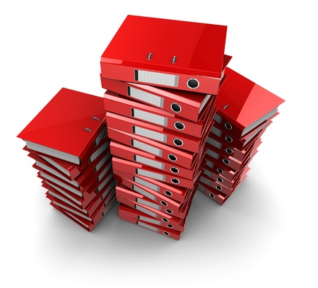 stack of files: 3d illustration of documents folders heap, over white background