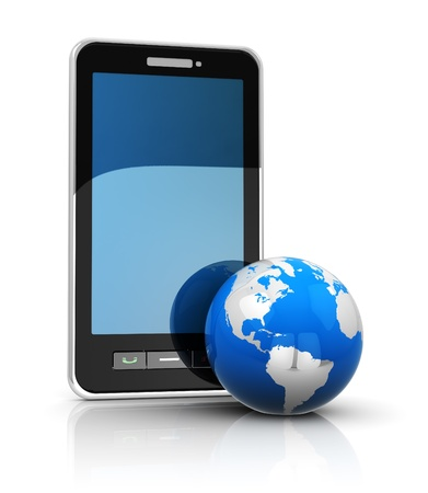 visual perception: phone and earth, mobile internet concept Stock Photo
