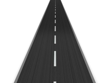 diminishing view: 3d illustration of asphalt road isolated over white background