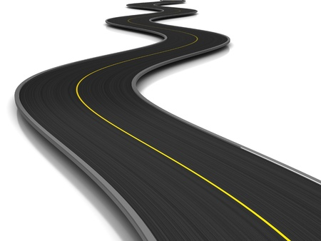 long road: 3d illustration of curved road over white background Stock Photo