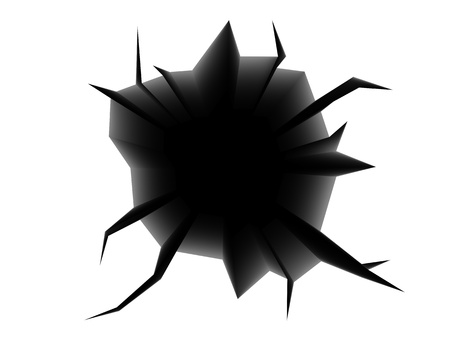 open hole: abstract 3d illustration of black cracked hole in white Stock Photo