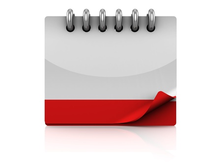 event planning: 3d illustration of calendar with blank page