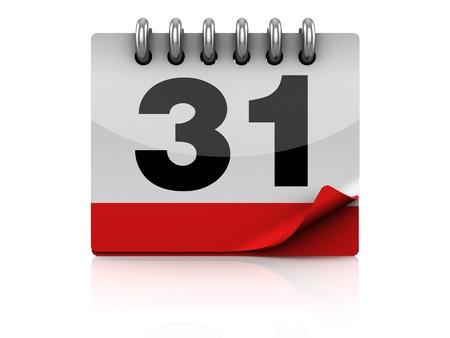 organizer page: Ilustraci�n 3D de calendario s�mbolo o icono, sobre fondo blanco Foto de archivo