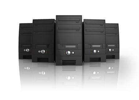 3d illustration of servers over white background, internet hosting concept