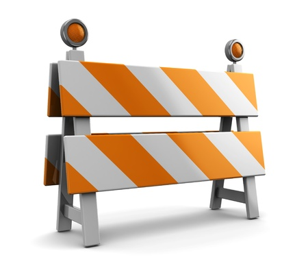 traffic barricade: 3d illustration of under construction barrier
