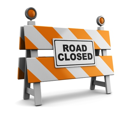 empty street: 3d illustration of barrier with road closed sign Stock Photo