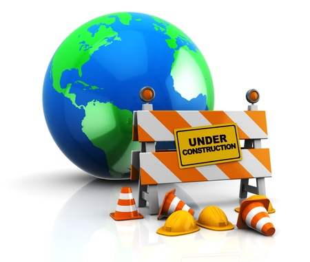 abstract 3d illustration of under construction barrier and earth globe Stock Illustration - 9351194