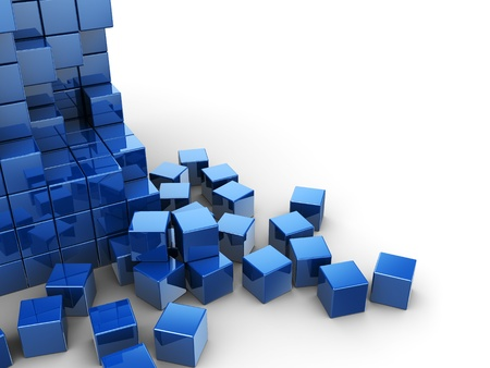 abstract 3d blocks: abstract 3d illustration of blue cubes construction over white background