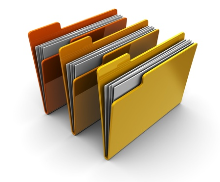organised group: 3d illustration of three folders over white background Stock Photo