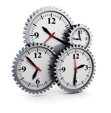abstract 3d illustration of clocks gear wheels, over white background illustration